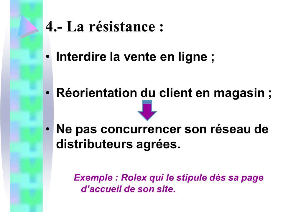 4.- La résistance : Interdire la vente en ligne ; Réorientation du client en magasin ; Ne pas concurrencer son réseau de distributeurs agrées. Exemple
