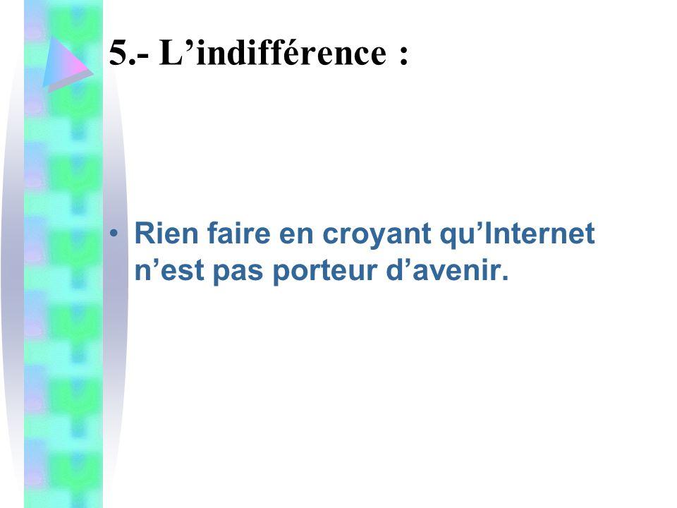 5.- Lindifférence : Rien faire en croyant quInternet nest pas porteur davenir.