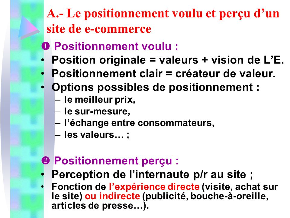 A.- Le positionnement voulu et perçu dun site de e-commerce Positionnement voulu : Position originale = valeurs + vision de LE. Positionnement clair =
