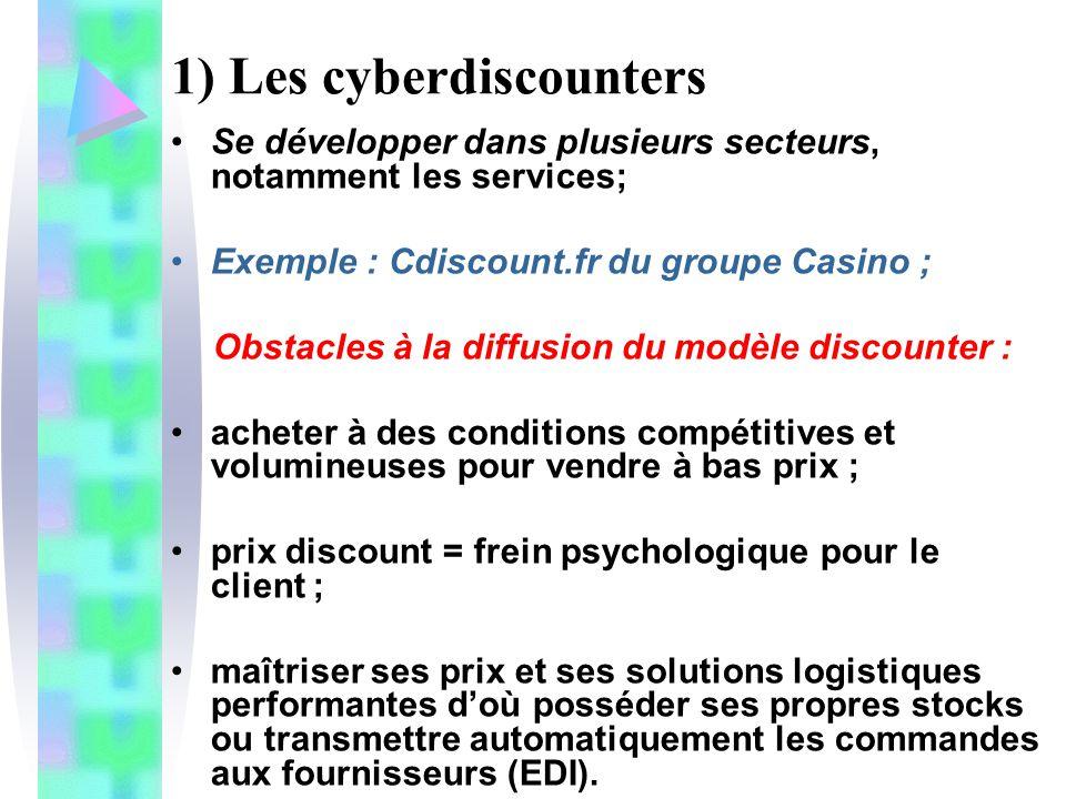 1) Les cyberdiscounters Se développer dans plusieurs secteurs, notamment les services; Exemple : Cdiscount.fr du groupe Casino ; Obstacles à la diffus