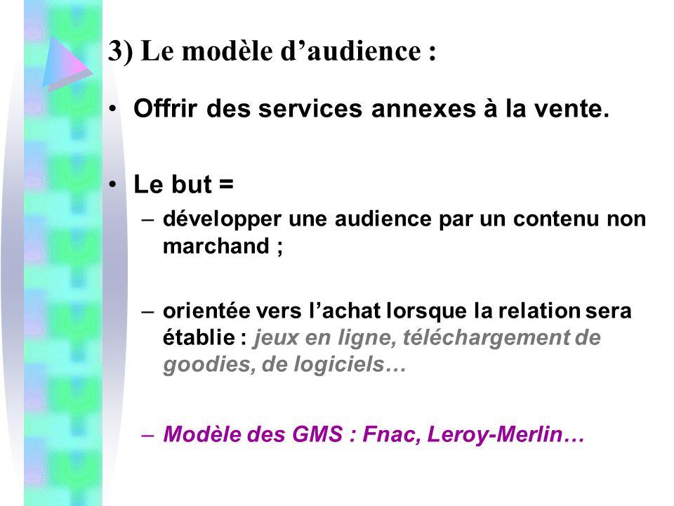 3) Le modèle daudience : Offrir des services annexes à la vente. Le but = –développer une audience par un contenu non marchand ; –orientée vers lachat