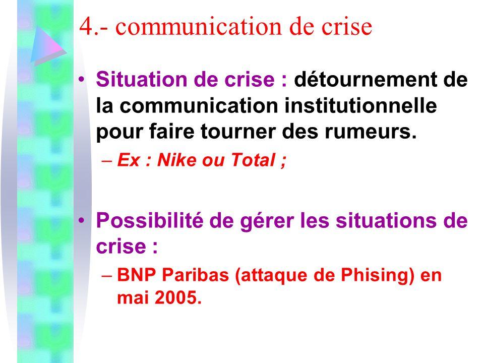 4.- communication de crise Situation de crise : détournement de la communication institutionnelle pour faire tourner des rumeurs. –Ex : Nike ou Total