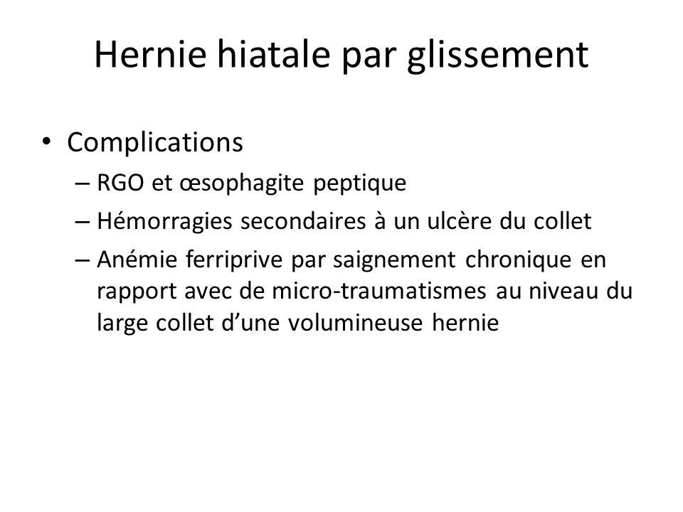 Hernie hiatale par roulement Beaucoup plus rare Caractérisée par le passage de la grosse tubérosité dans le thorax, le cardia restant en place