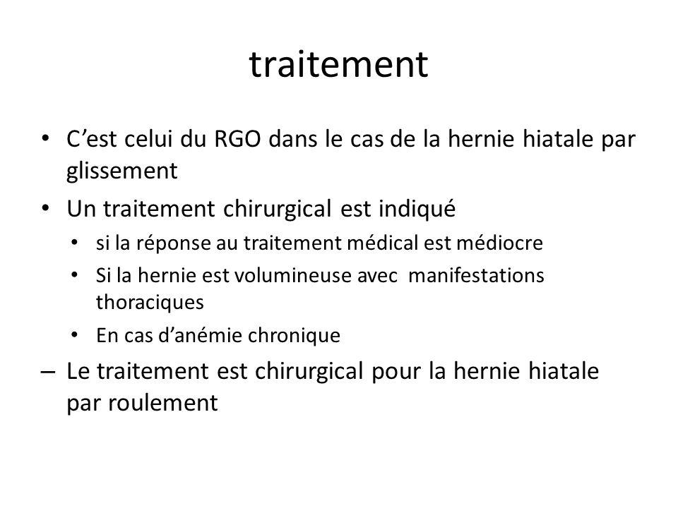 traitement Cest celui du RGO dans le cas de la hernie hiatale par glissement Un traitement chirurgical est indiqué si la réponse au traitement médical