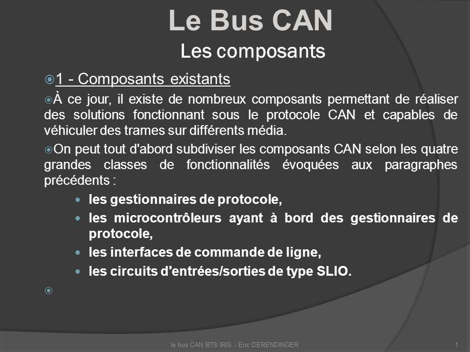 Le Bus CAN Les composants 1 - Composants existants À ce jour, il existe de nombreux composants permettant de réaliser des solutions fonctionnant sous