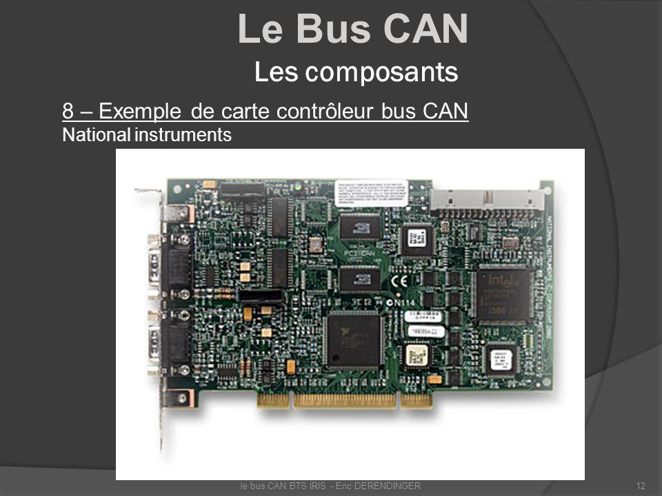 Le Bus CAN Les composants 8 – Exemple de carte contrôleur bus CAN National instruments le bus CAN BTS IRIS - Eric DERENDINGER12