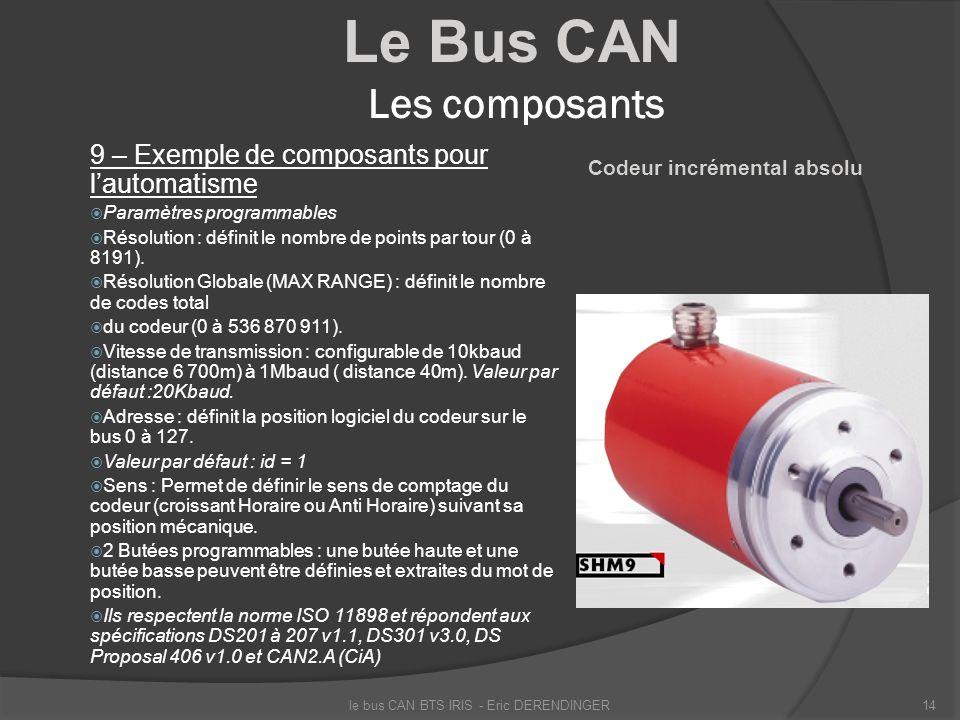 Le Bus CAN Les composants 9 – Exemple de composants pour lautomatisme Paramètres programmables Résolution : définit le nombre de points par tour (0 à