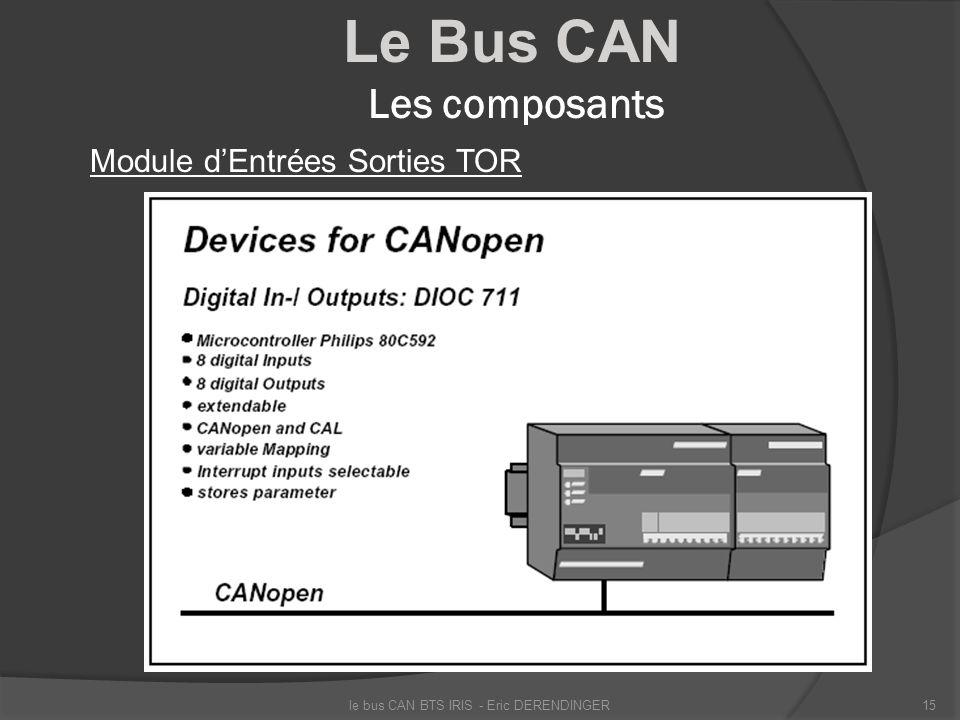 Le Bus CAN Les composants Module dEntrées Sorties TOR le bus CAN BTS IRIS - Eric DERENDINGER15