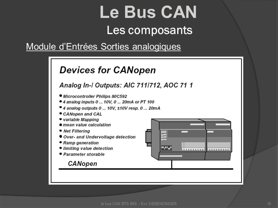 Le Bus CAN Les composants Module dEntrées Sorties analogiques le bus CAN BTS IRIS - Eric DERENDINGER16