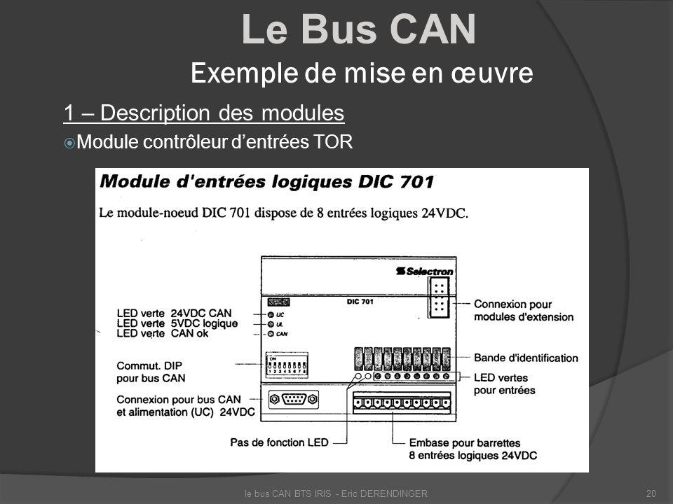 Le Bus CAN Exemple de mise en œuvre 1 – Description des modules Module contrôleur dentrées TOR le bus CAN BTS IRIS - Eric DERENDINGER20