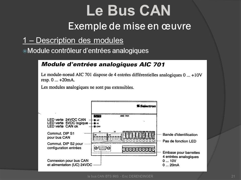 Le Bus CAN Exemple de mise en œuvre 1 – Description des modules Module contrôleur dentrées analogiques le bus CAN BTS IRIS - Eric DERENDINGER21