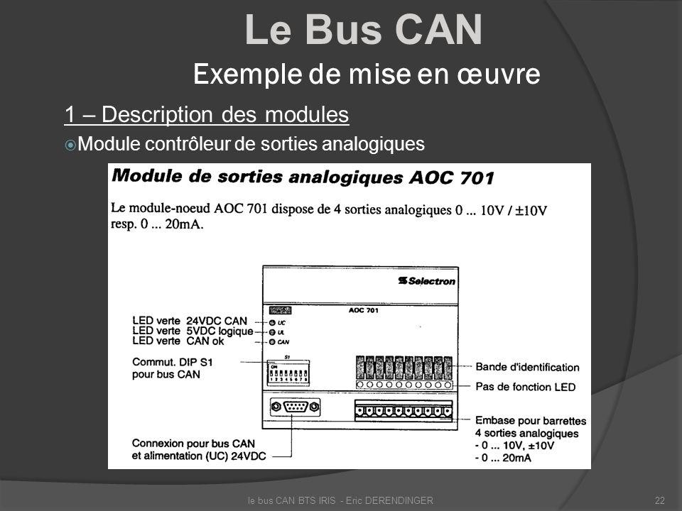 Le Bus CAN Exemple de mise en œuvre 1 – Description des modules Module contrôleur de sorties analogiques le bus CAN BTS IRIS - Eric DERENDINGER22