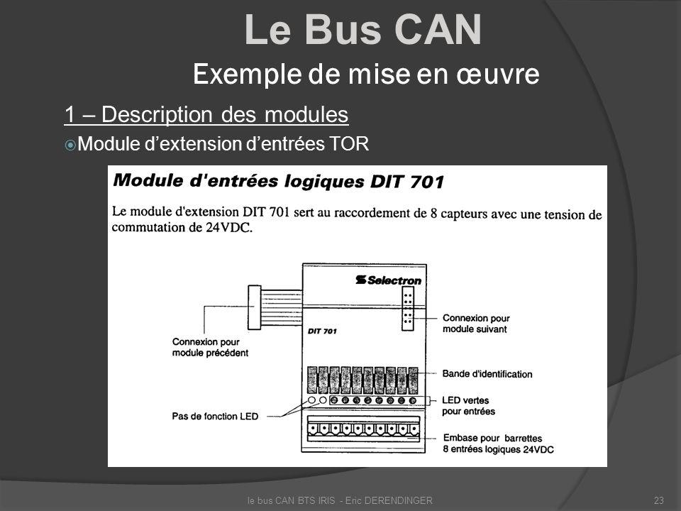 Le Bus CAN Exemple de mise en œuvre 1 – Description des modules Module dextension dentrées TOR le bus CAN BTS IRIS - Eric DERENDINGER23