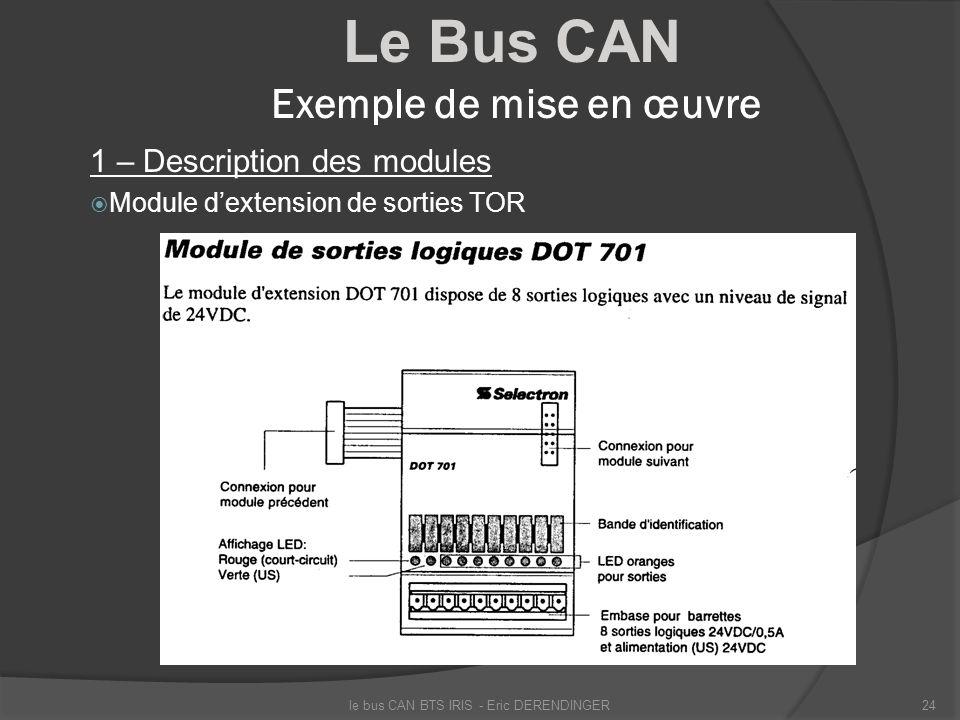 Le Bus CAN Exemple de mise en œuvre 1 – Description des modules Module dextension de sorties TOR le bus CAN BTS IRIS - Eric DERENDINGER24