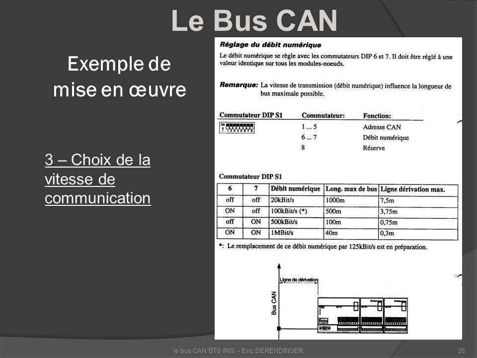 Le Bus CAN Exemple de mise en œuvre 3 – Choix de la vitesse de communication le bus CAN BTS IRIS - Eric DERENDINGER26