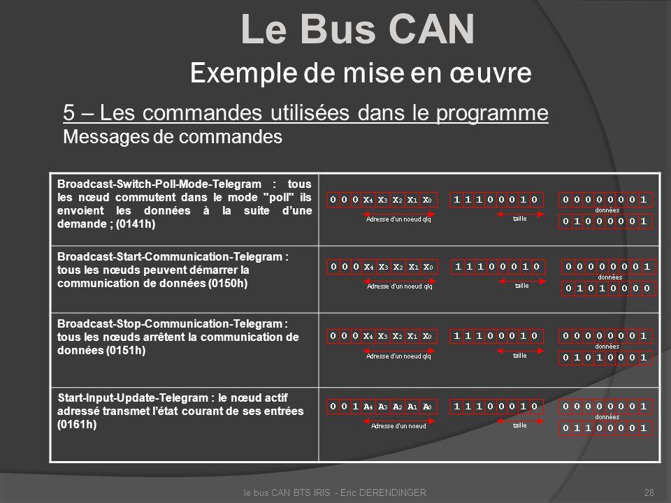 Le Bus CAN Exemple de mise en œuvre 5 – Les commandes utilisées dans le programme Messages de commandes le bus CAN BTS IRIS - Eric DERENDINGER28 Broad