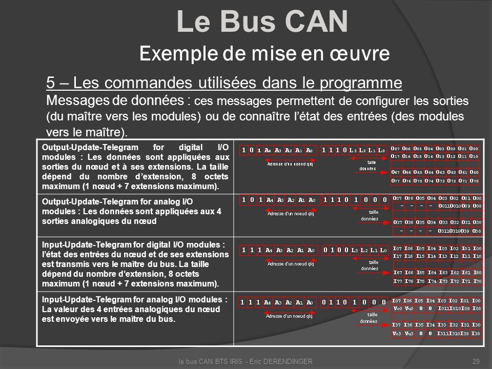 Le Bus CAN Exemple de mise en œuvre 5 – Les commandes utilisées dans le programme Messages de données : ces messages permettent de configurer les sort