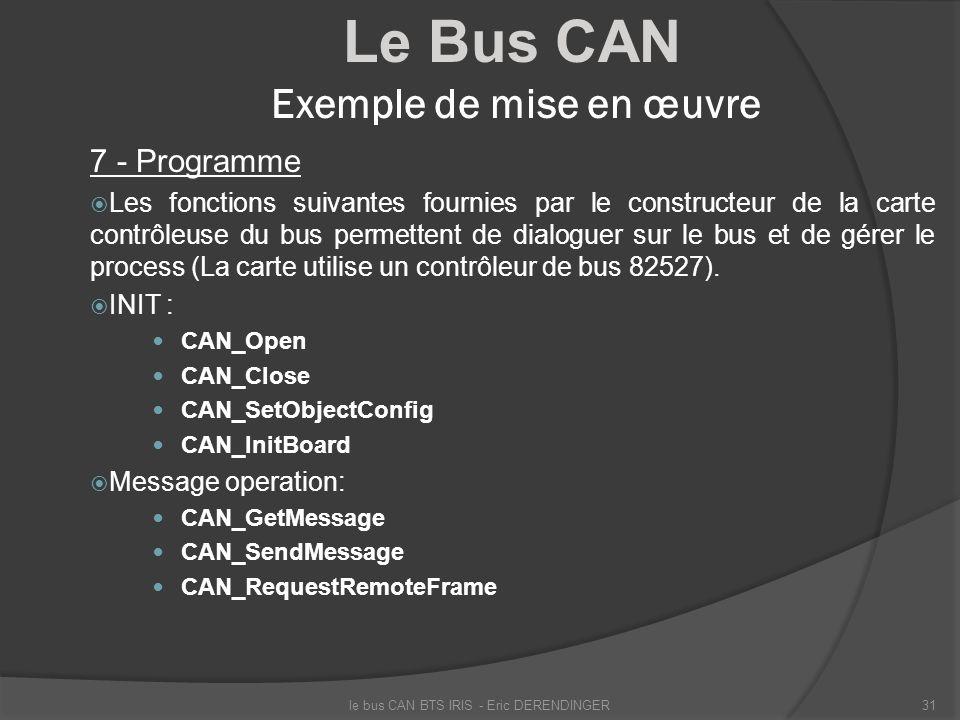 Le Bus CAN Exemple de mise en œuvre 7 - Programme Les fonctions suivantes fournies par le constructeur de la carte contrôleuse du bus permettent de di