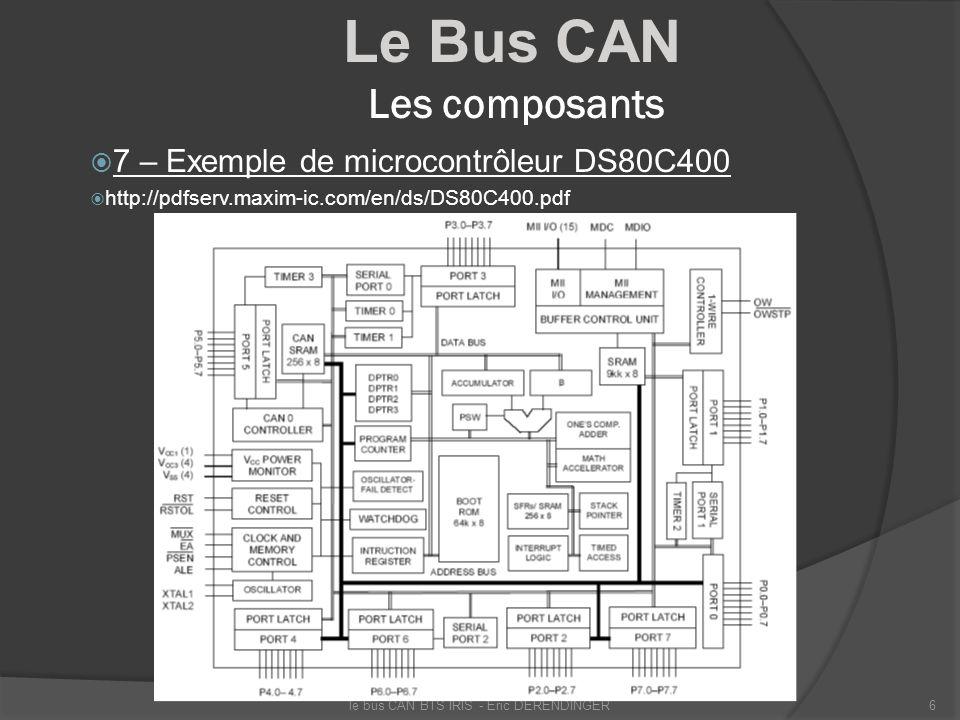 Le Bus CAN Les composants 7 – Exemple de microcontrôleur DS80C400 http://pdfserv.maxim-ic.com/en/ds/DS80C400.pdf le bus CAN BTS IRIS - Eric DERENDINGE