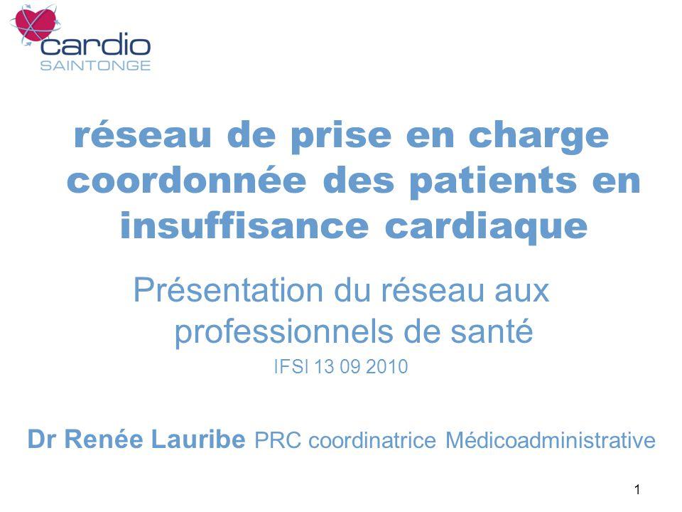 1 réseau de prise en charge coordonnée des patients en insuffisance cardiaque Présentation du réseau aux professionnels de santé IFSI 13 09 2010 Dr Renée Lauribe PRC coordinatrice Médicoadministrative