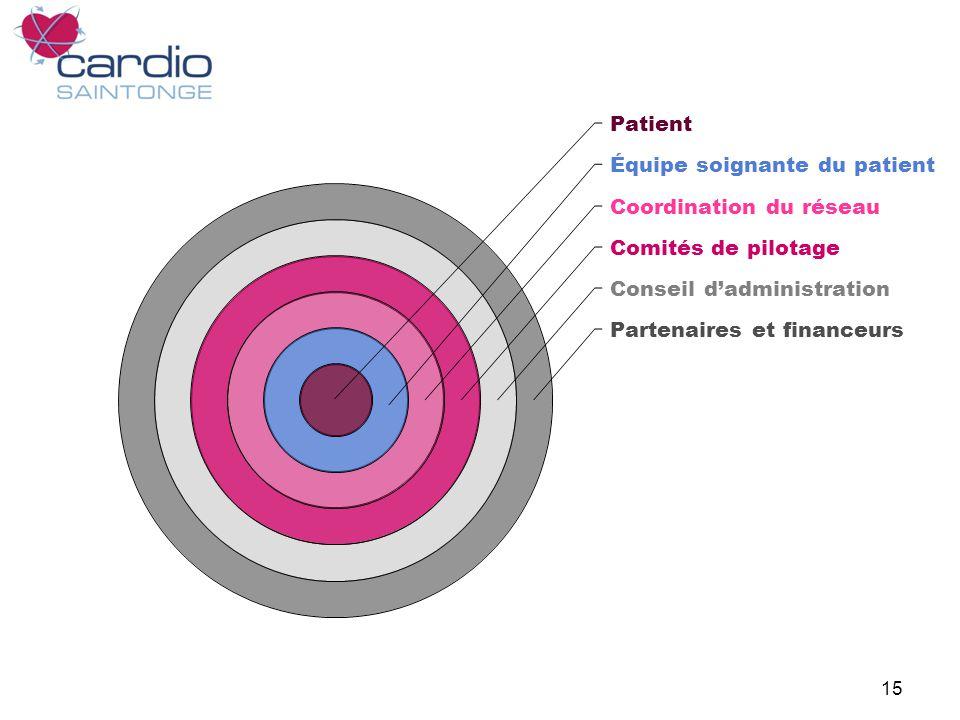15 Patient Équipe soignante du patient Coordination du réseau Comités de pilotage Conseil dadministration