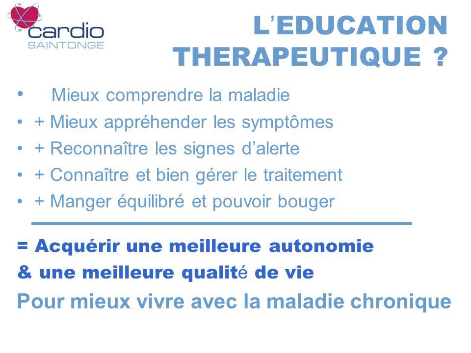 L EDUCATION THERAPEUTIQUE ? Mieux comprendre la maladie + Mieux appréhender les symptômes + Reconnaître les signes dalerte + Connaître et bien gérer l