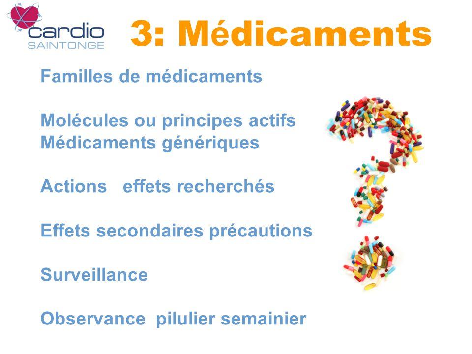 3: M é dicaments Familles de médicaments Molécules ou principes actifs Médicaments génériques Actions effets recherchés Effets secondaires précautions Surveillance Observance pilulier semainier