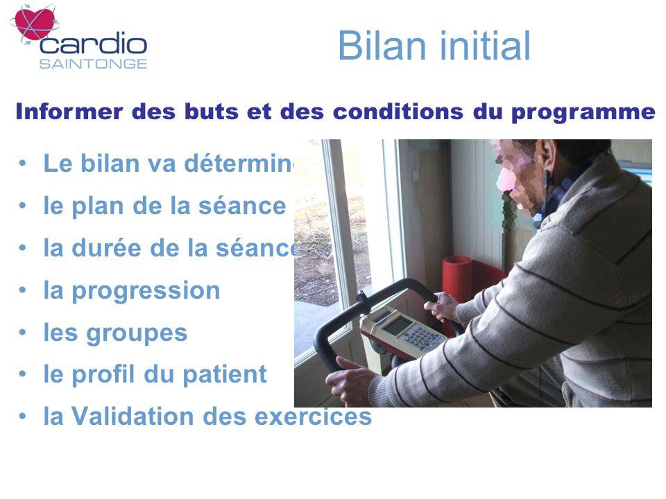 Bilan initial Le bilan va déterminer le plan de la séance la durée de la séance la progression les groupes le profil du patient la Validation des exercices Informer des buts et des conditions du programme