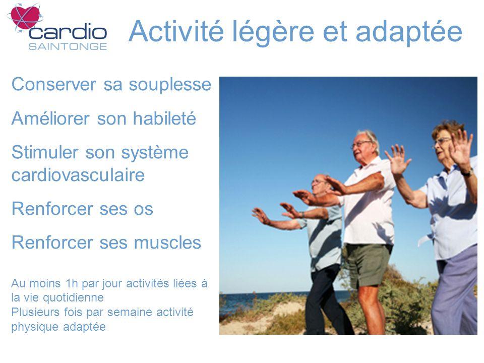 Activité légère et adaptée Conserver sa souplesse Améliorer son habileté Stimuler son système cardiovasculaire Renforcer ses os Renforcer ses muscles Au moins 1h par jour activités liées à la vie quotidienne Plusieurs fois par semaine activité physique adaptée