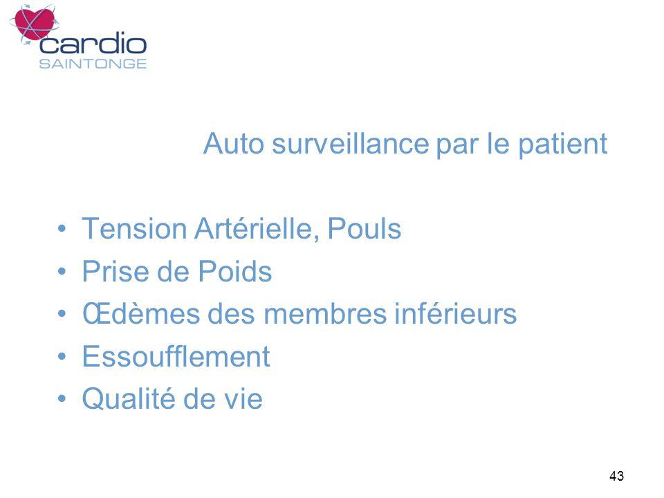 43 Auto surveillance par le patient Tension Artérielle, Pouls Prise de Poids Œdèmes des membres inférieurs Essoufflement Qualité de vie