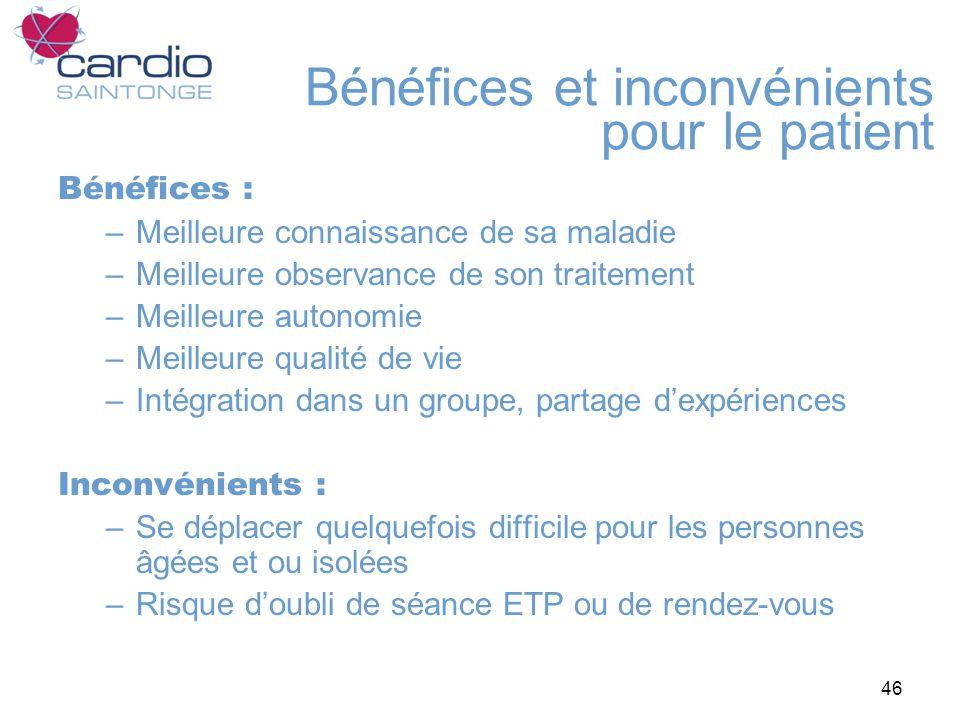 46 Bénéfices et inconvénients pour le patient Bénéfices : –Meilleure connaissance de sa maladie –Meilleure observance de son traitement –Meilleure aut