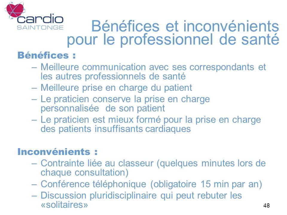 48 Bénéfices et inconvénients pour le professionnel de santé Bénéfices : –Meilleure communication avec ses correspondants et les autres professionnels