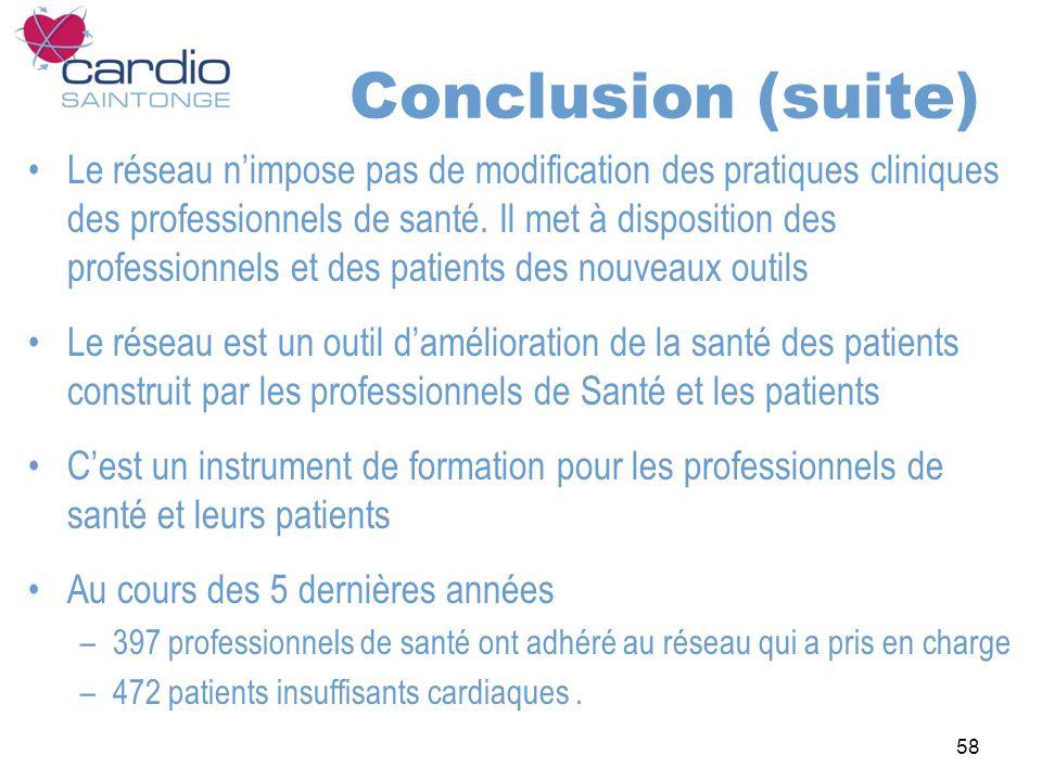 58 Conclusion (suite) Le réseau nimpose pas de modification des pratiques cliniques des professionnels de santé. Il met à disposition des professionne