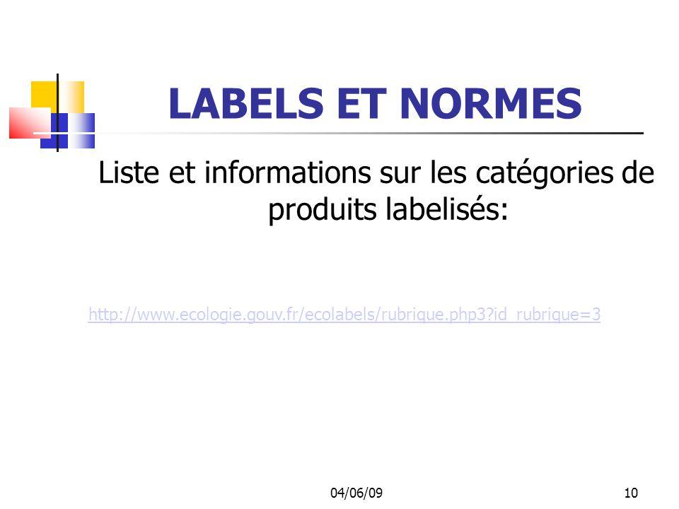 04/06/0910 LABELS ET NORMES Liste et informations sur les catégories de produits labelisés: http://www.ecologie.gouv.fr/ecolabels/rubrique.php3?id_rubrique=3