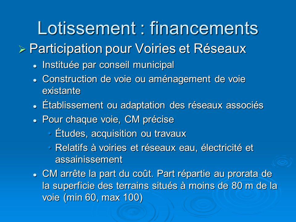 Lotissement : financements Participation pour Voiries et Réseaux Participation pour Voiries et Réseaux Instituée par conseil municipal Instituée par c