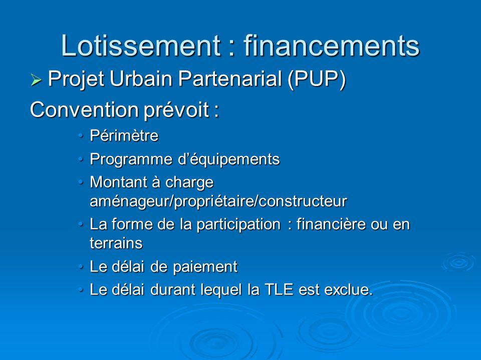 Lotissement : financements Projet Urbain Partenarial (PUP) Projet Urbain Partenarial (PUP) Convention prévoit : PérimètrePérimètre Programme déquipeme