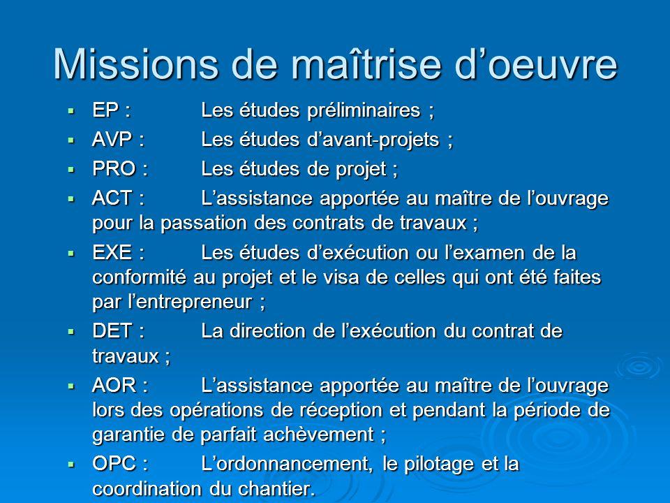 Missions de maîtrise doeuvre EP : Les études préliminaires ; EP : Les études préliminaires ; AVP : Les études davant-projets ; AVP : Les études davant