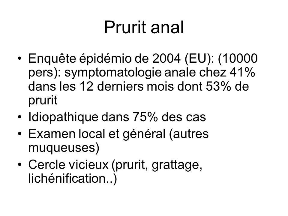 Prurit anal Enquête épidémio de 2004 (EU): (10000 pers): symptomatologie anale chez 41% dans les 12 derniers mois dont 53% de prurit Idiopathique dans 75% des cas Examen local et général (autres muqueuses) Cercle vicieux (prurit, grattage, lichénification..)