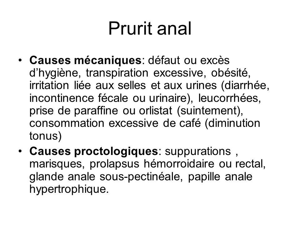 Prurit anal Causes mécaniques: défaut ou excès dhygiène, transpiration excessive, obésité, irritation liée aux selles et aux urines (diarrhée, inconti