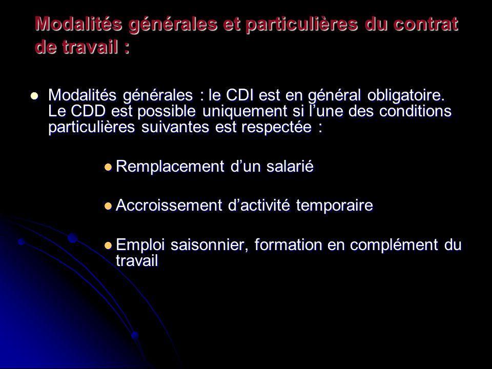 Modalités générales et particulières du contrat de travail : Modalités générales : le CDI est en général obligatoire. Le CDD est possible uniquement s