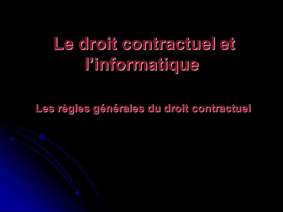 La formation des contrats Conditions de formation des contrats Le consentement Léchange des consentement : Selon la théorie des contrats, le cœur du contrat et laccord de volonté en détermine la teneur.