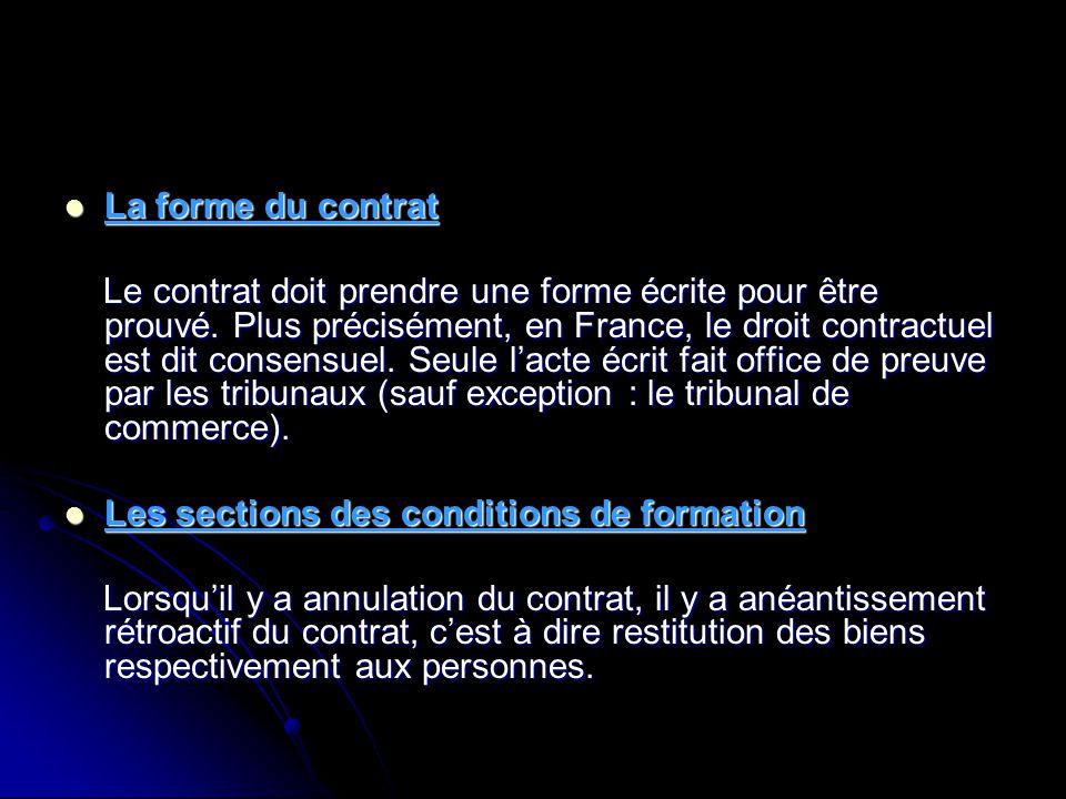 La forme du contrat La forme du contrat Le contrat doit prendre une forme écrite pour être prouvé. Plus précisément, en France, le droit contractuel e