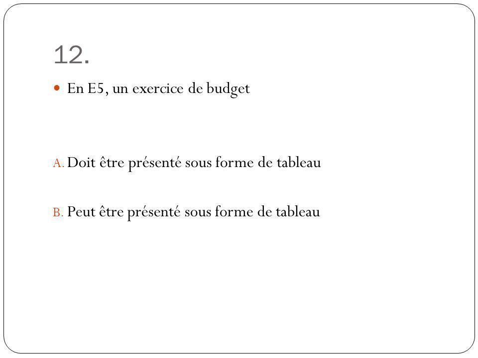 12. En E5, un exercice de budget A. Doit être présenté sous forme de tableau B. Peut être présenté sous forme de tableau