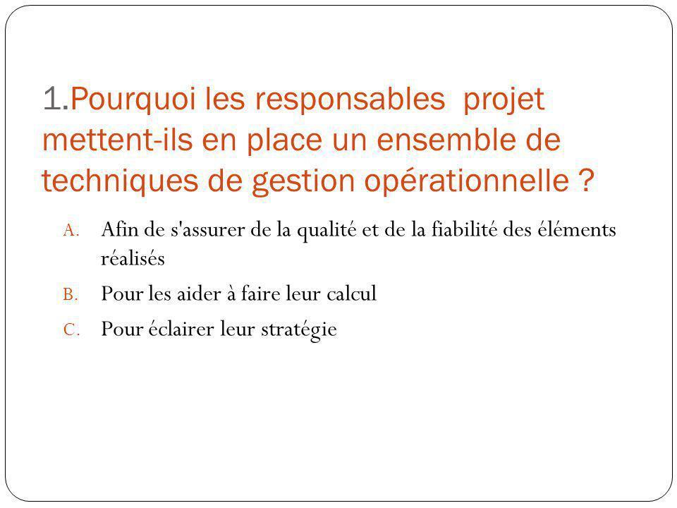 1.Pourquoi les responsables projet mettent-ils en place un ensemble de techniques de gestion opérationnelle ? A. Afin de s'assurer de la qualité et de