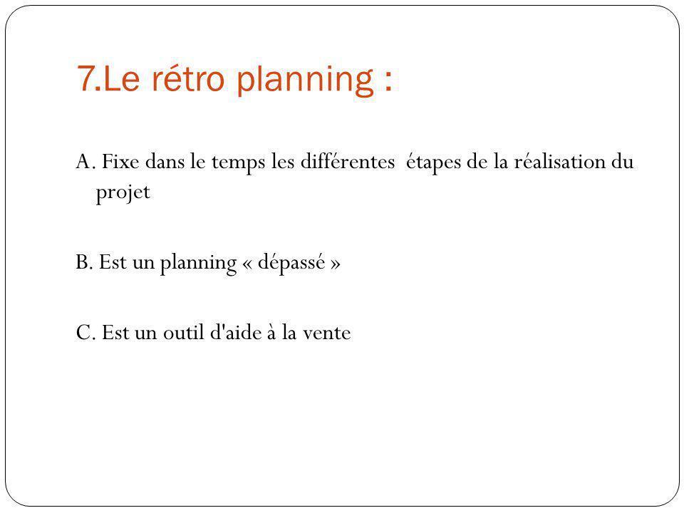 7.Le rétro planning : A. Fixe dans le temps les différentes étapes de la réalisation du projet B. Est un planning « dépassé » C. Est un outil d'aide à