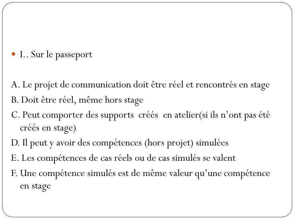 I.. Sur le passeport A. Le projet de communication doit être réel et rencontrés en stage B. Doit être réel, même hors stage C. Peut comporter des supp