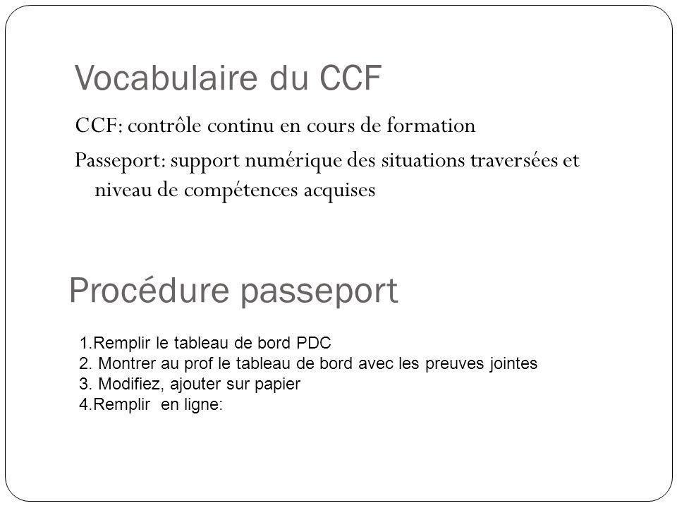 Vocabulaire du CCF CCF: contrôle continu en cours de formation Passeport: support numérique des situations traversées et niveau de compétences acquise