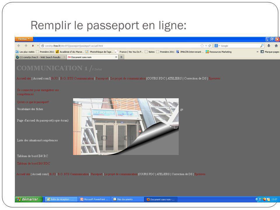 Remplir le passeport en ligne: