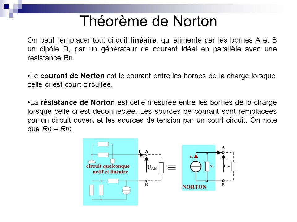 Théorème de Norton On peut remplacer tout circuit linéaire, qui alimente par les bornes A et B un dipôle D, par un générateur de courant idéal en para