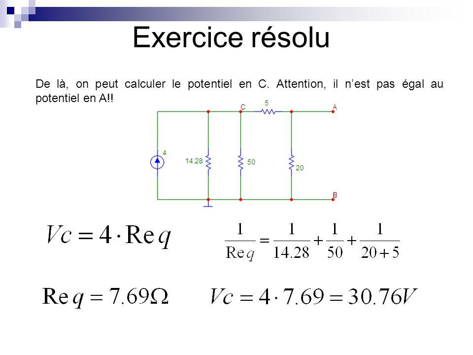 Exercice résolu De là, on peut calculer la tension en A qui est aussi la tension Eth par un simple diviseur de tension : Eth = 24.61V